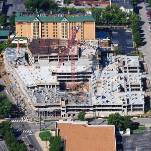 Garage and condominium structure during construction
